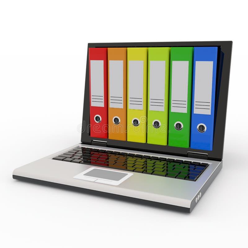 Portátil e dobradores coloridos do arquivo. ilustração stock