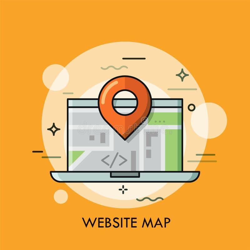 Portátil e marca de lugar Conceito do mapa interativo em linha global e local ilustração royalty free