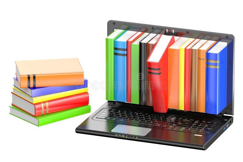 Portátil e pilha de livros da cor ilustração do vetor