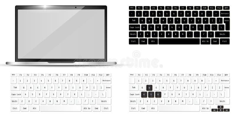 Portátil e teclados realísticos modernos Modelo do caderno Ilustração do vetor ilustração do vetor