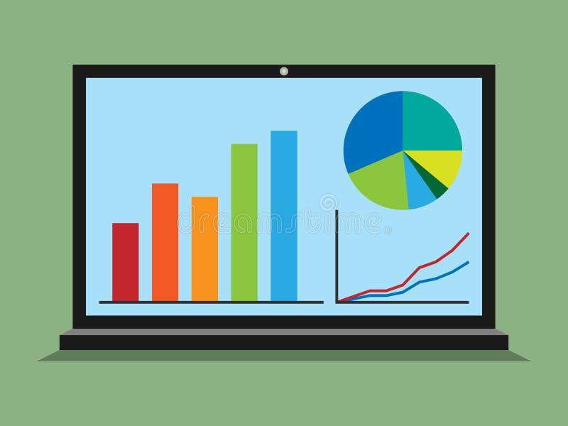 Portátil, gráficos, diagramas, estatísticas ilustração stock