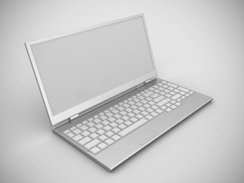 Portátil, ilustração detalhada do computador moderno ilustração stock