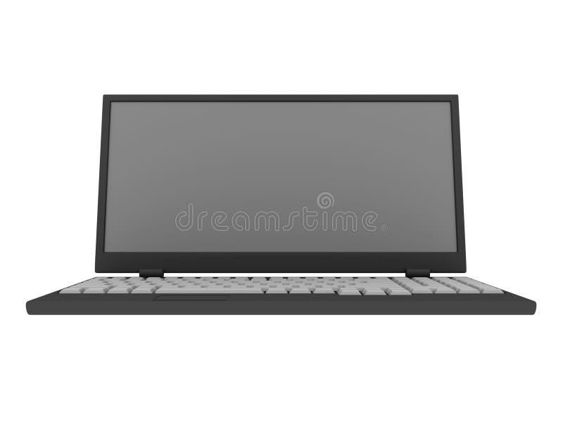 Portátil isolado no branco, trajeto de grampeamento incluído ilustração do vetor