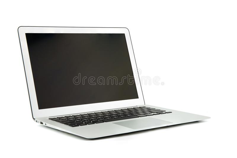 Portátil, laptop com o espaço da cópia isolado no fundo branco imagens de stock