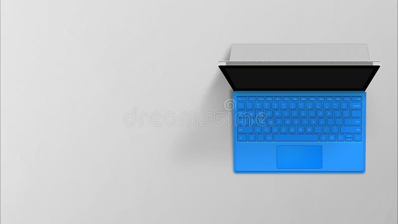 Port?til moderno da retina com o teclado ingl?s no fundo branco fotografia de stock