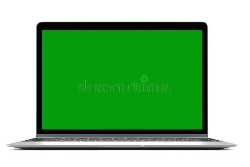 Portátil moderno do computador no fundo branco com a tela verde para o modelo com trajeto cliping ilustração royalty free