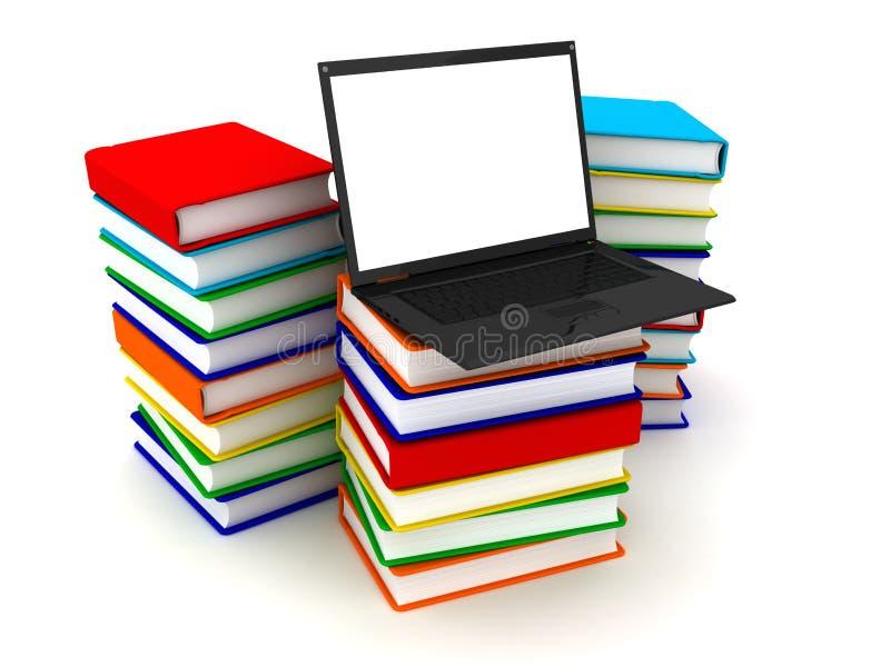 Portátil na pilha de livros ilustração stock