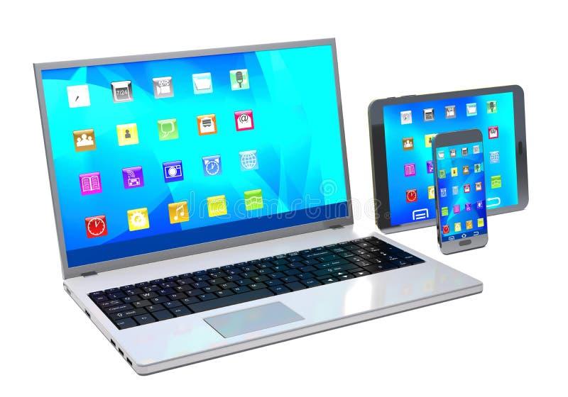 Portátil, PC da tabuleta e telefone celular no fundo branco ilustração do vetor