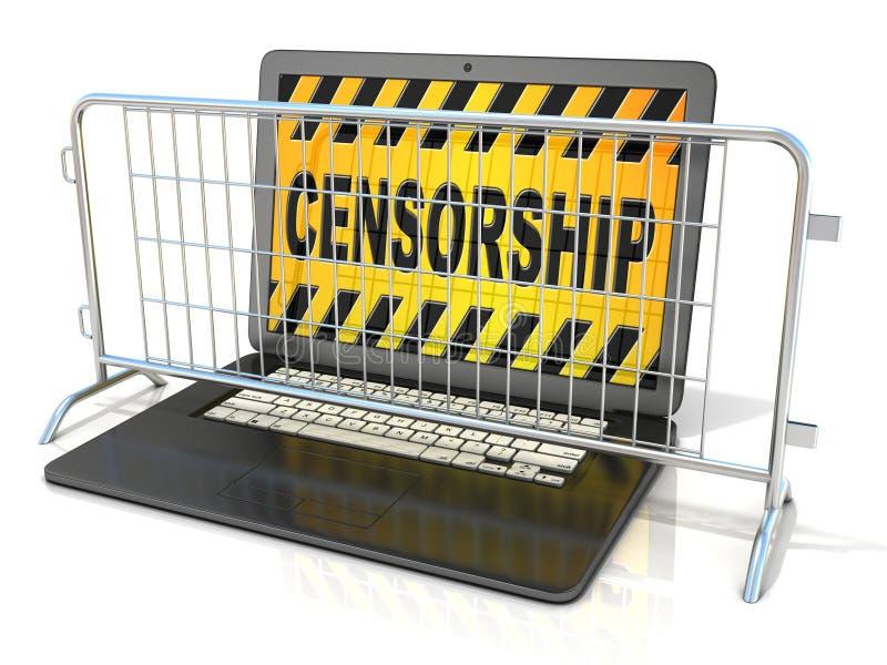 Portátil preto com sinal da CENSURA na tela, e barricadas de aço ilustração stock