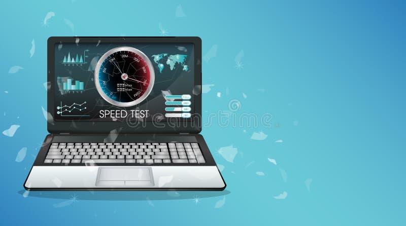 Portátil quebrado da exposição usando o teste de velocidade do Internet ilustração do vetor