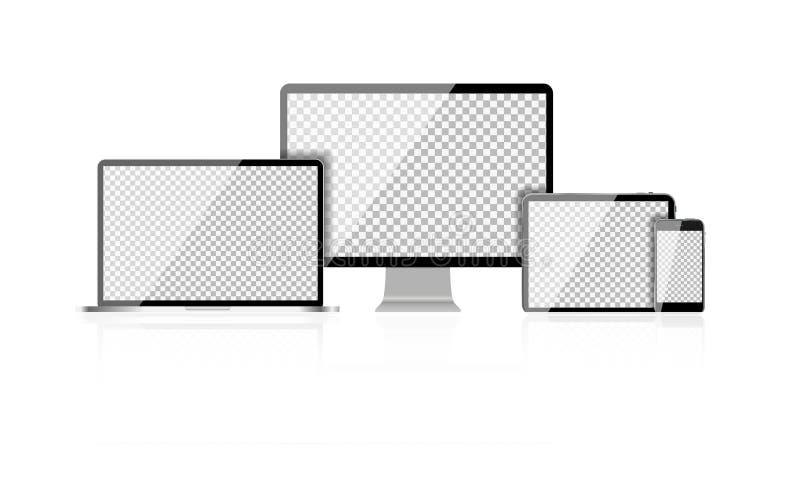 Portátil realístico do computador, telefone celular, PC da tabuleta com sumário ilustração royalty free