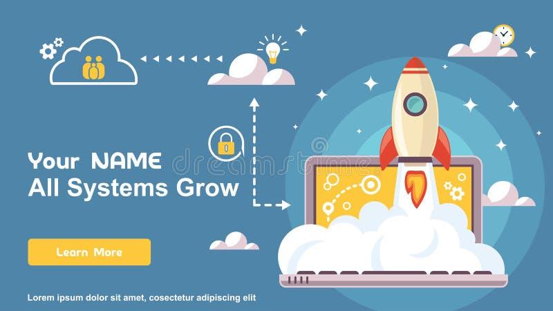 Portátil simples do design web, telefone, e molde móvel de Rocket Logo Design, tecnologia Logo Design Vetora ilustração stock
