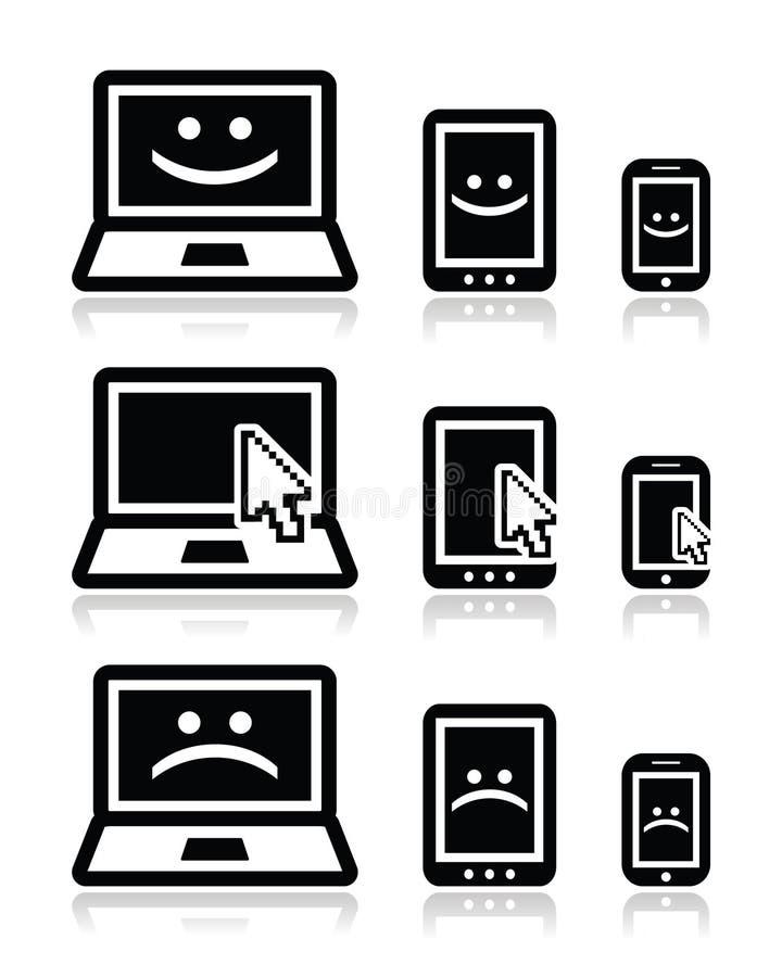 Portátil, tabuleta e telefone com as caras da seta do cursor, as felizes e as tristes ilustração royalty free
