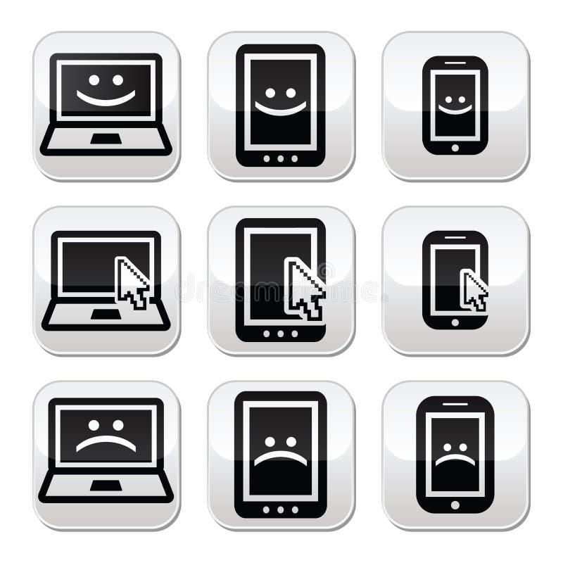 Portátil, tabuleta, telefone com o cursor, feliz, triste ilustração royalty free