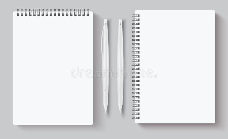 Portátiles espirales realistas. Tinta y bolígrafo en blanco. Ilustración de vectores para identidad corporativa aislada en gris libre illustration