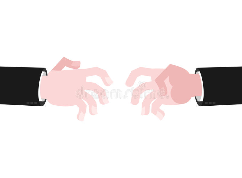 Portée de mains d'affaires pour la poignée de main Atteignez à l'extérieur illustration de vecteur