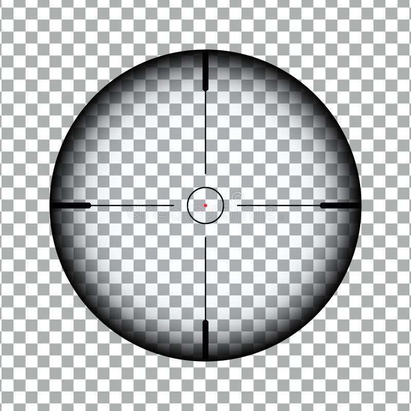 Portée optique de tireur isolé avec l'indicateur rouge de point Vecteur eps10 de fusil de Scope de tireur isolé illustration stock