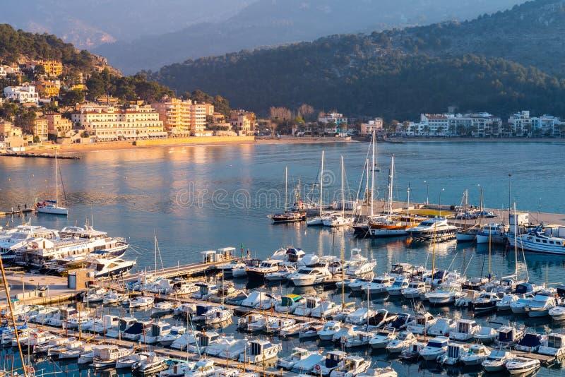 Port在日落的de索勒,马略卡 免版税库存图片