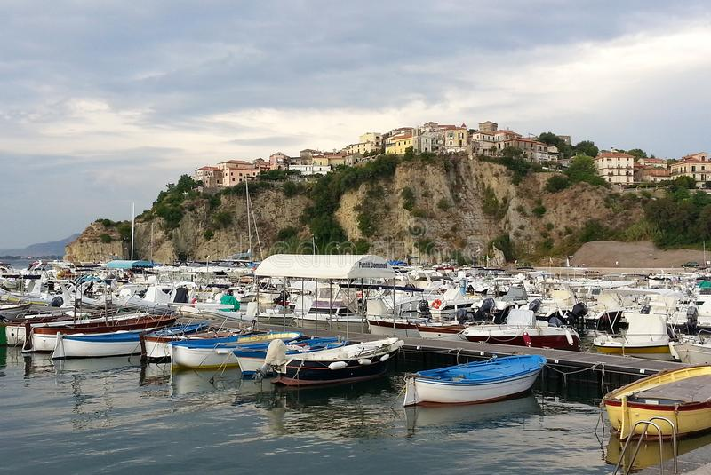 Port of Agropoli: view of the historic center royalty free stock photography
