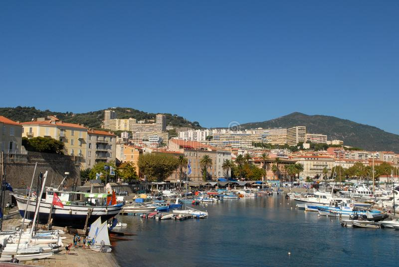 Port of Ajaccio in Corsica, France. Boats in the marina of Ajaccio summer stock photos