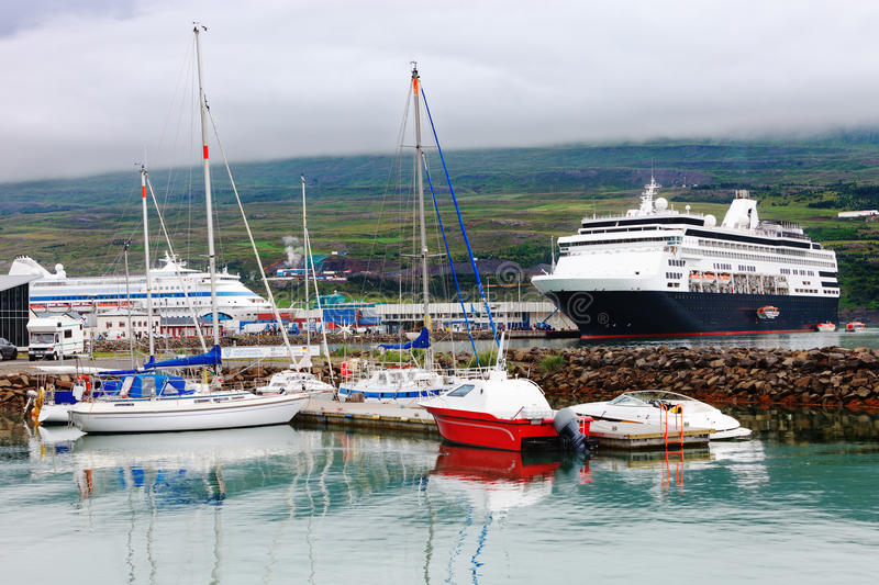 Port of akureyri, Iceland. Cruise ships in the port of Akureyri, Iceland stock photos
