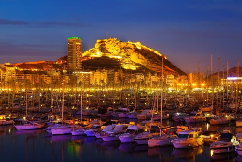 Port Alicante w nocy zdjęcia royalty free