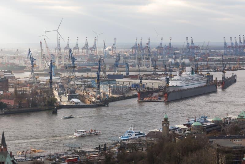 Port Allemagne de Hambourg d'en haut images libres de droits