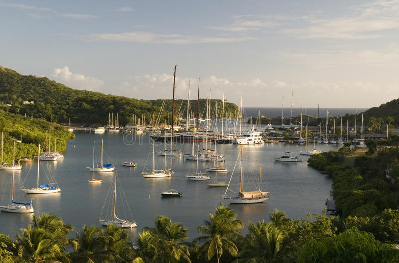 Port anglais Antigua la Caraïbe de paysage photo stock