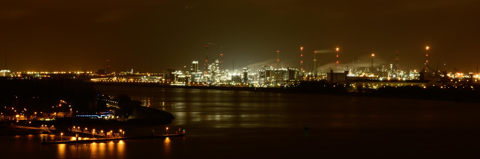 Port of Antwerp by night stock photo