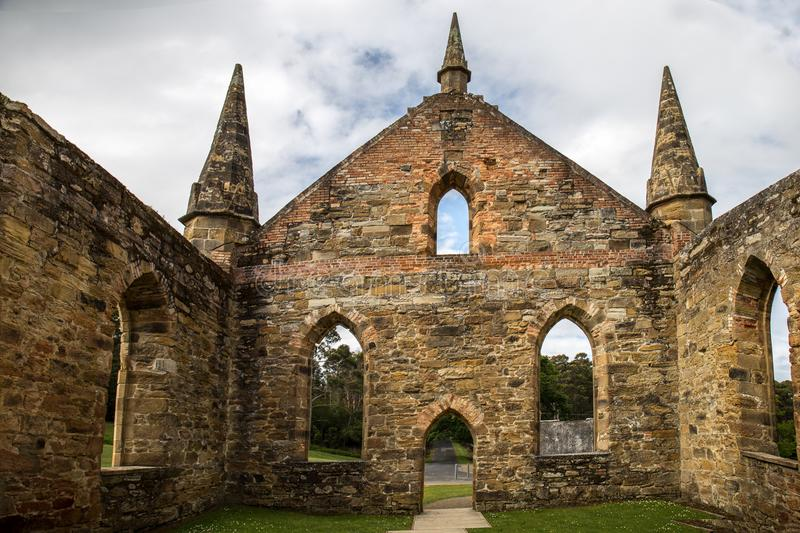 Port Arthur Church Ruins. The ruins of the church in the grounds of historical Port Arthur stock photo