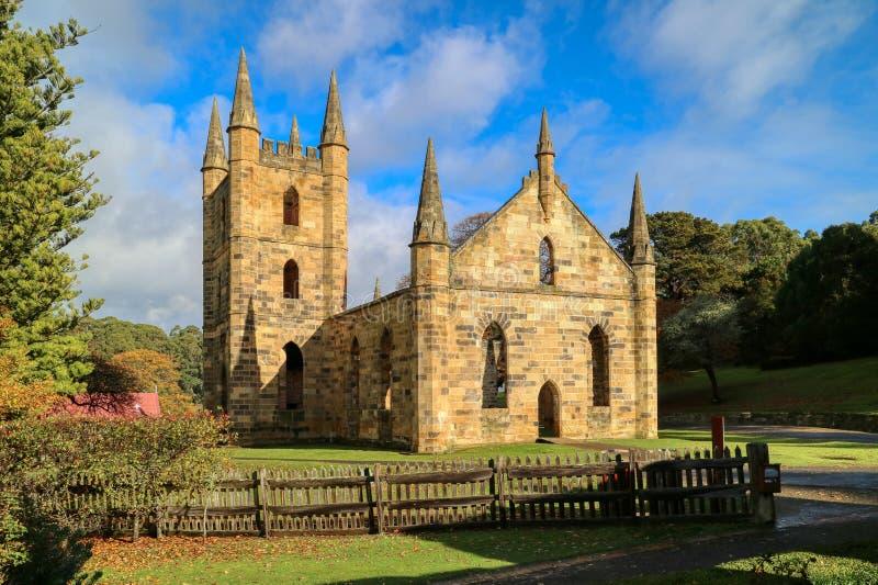 Port Arthur Penal Colony Historic Site, ruins of the church Tasman Peninsula, Tasmania, Australia royalty free stock photo