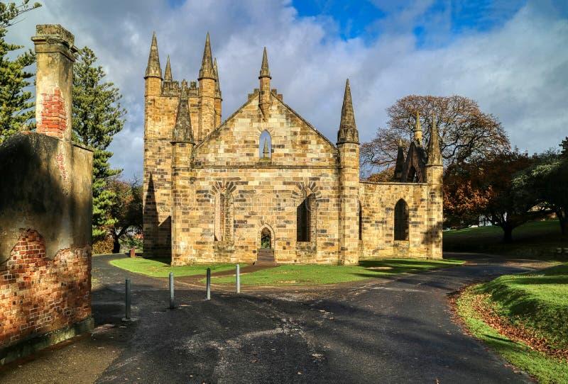 Port Arthur Penal Colony Historic Site, ruins of the church Tasmania Australia stock photography