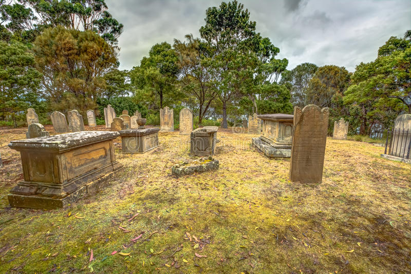 Port Arthur : vieilles tombes et pierres tombales photos stock