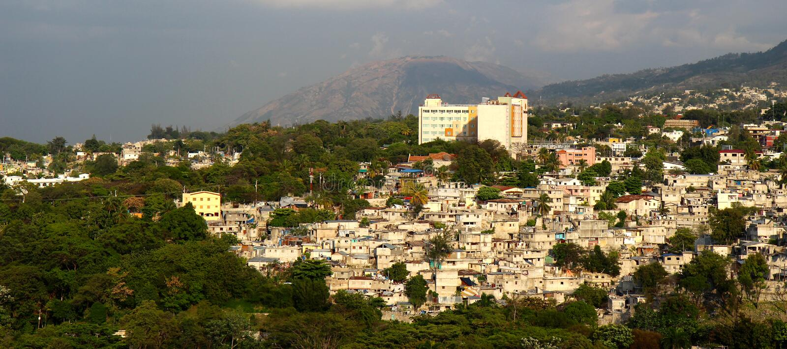 Port-au-Prince houses. Little houses in the mountain in Port-au-Prince, Haiti stock photography