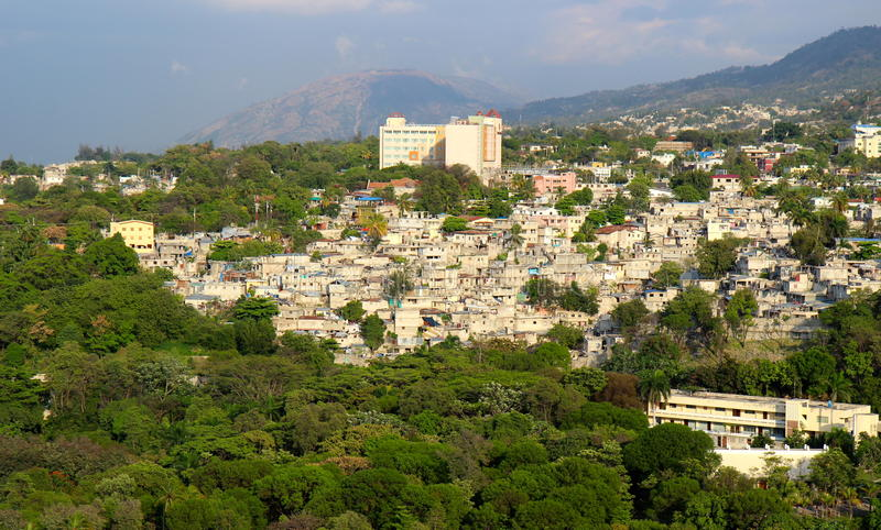 Port-au-Prince little houses. View on mountains and on a part of Port-au-Prince, Haiti royalty free stock images