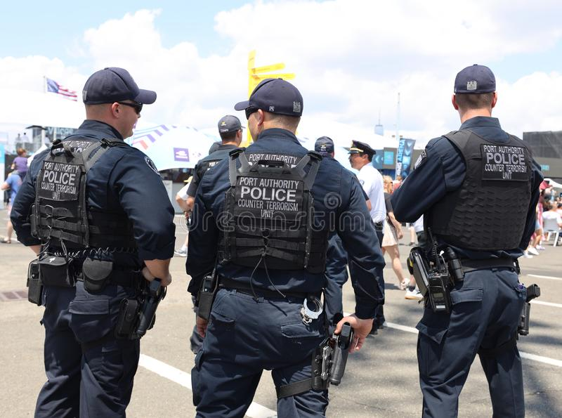 Port Authority Counter Terrorism Unit officers provide security during public event. BROOKLYN, NEW YORK - JULY 14, 2019: Port Authority Counter Terrorism Unit stock photography