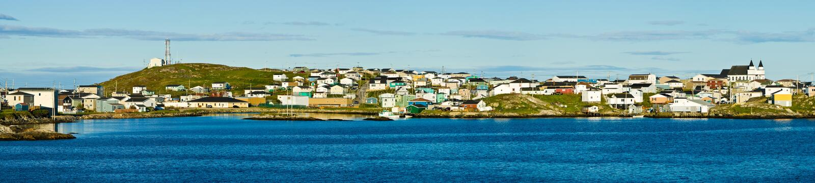 Port aux Basques, Newfoundland. Panoramic view of Port aux Basques, Newfoundland royalty free stock image