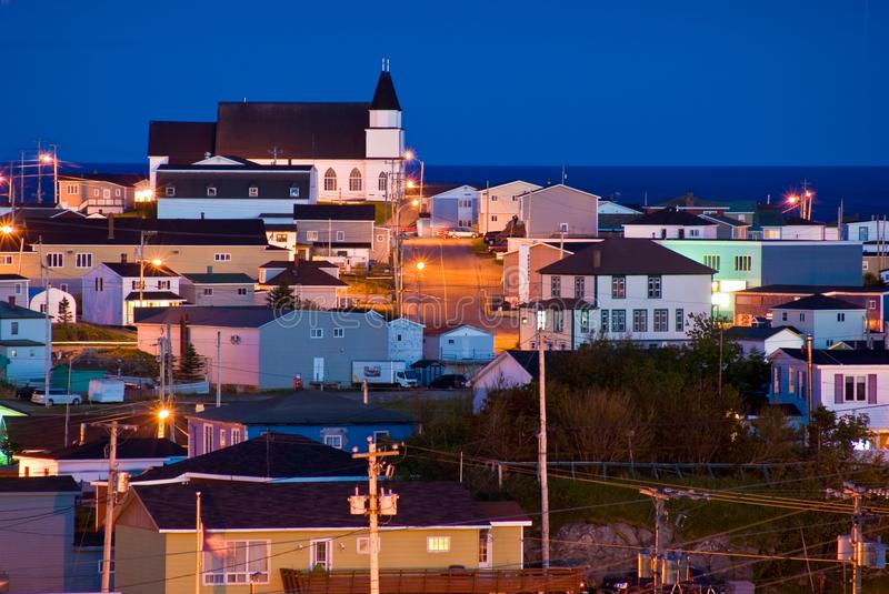 Port aux Basques at night. Port aux Basques, Newfoundland at night royalty free stock photography