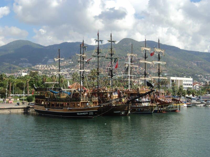 Port av Alanya kalkon arkivfoto
