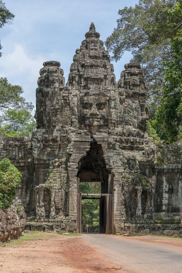Port av Angkor Thom, Cambodja arkivbild