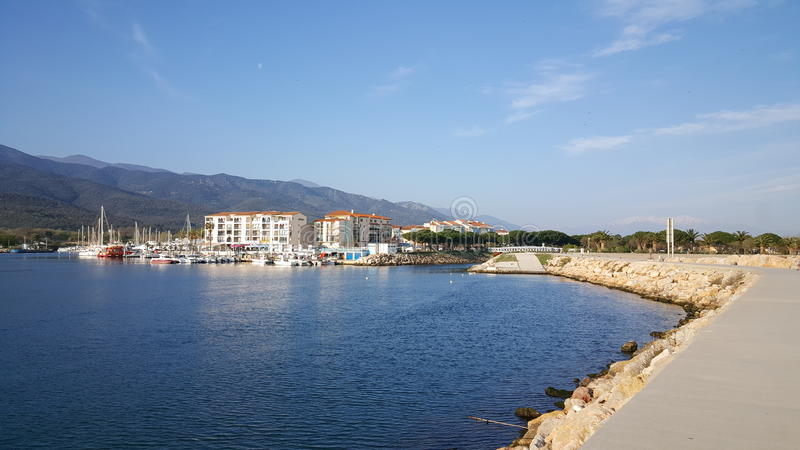 Port av Argelès sur Mer royaltyfria foton