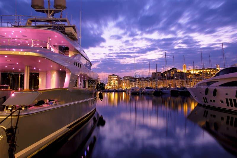 Port av Cannes, franska Riviera, Frankrike arkivbild