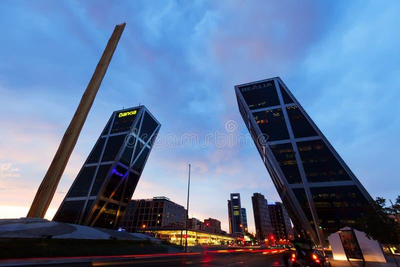 Port av Europa i Madrid, Spanien arkivfoto