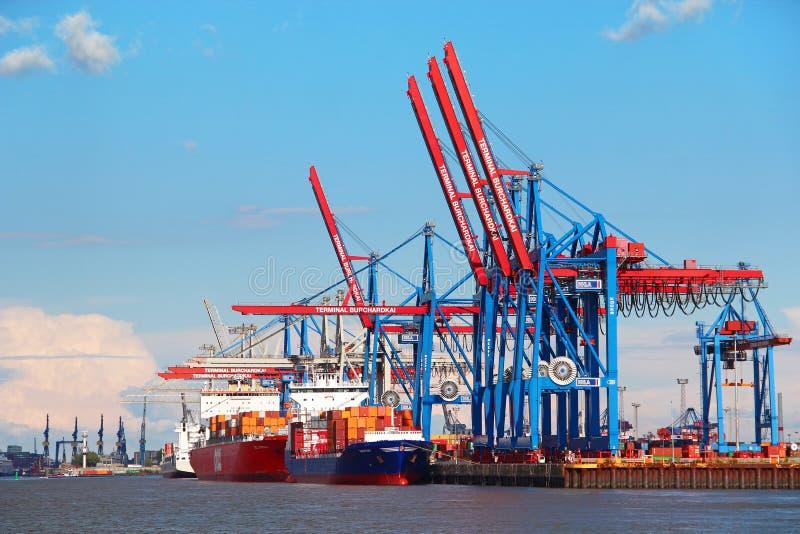 Port av Hamburg, Tyskland royaltyfria foton