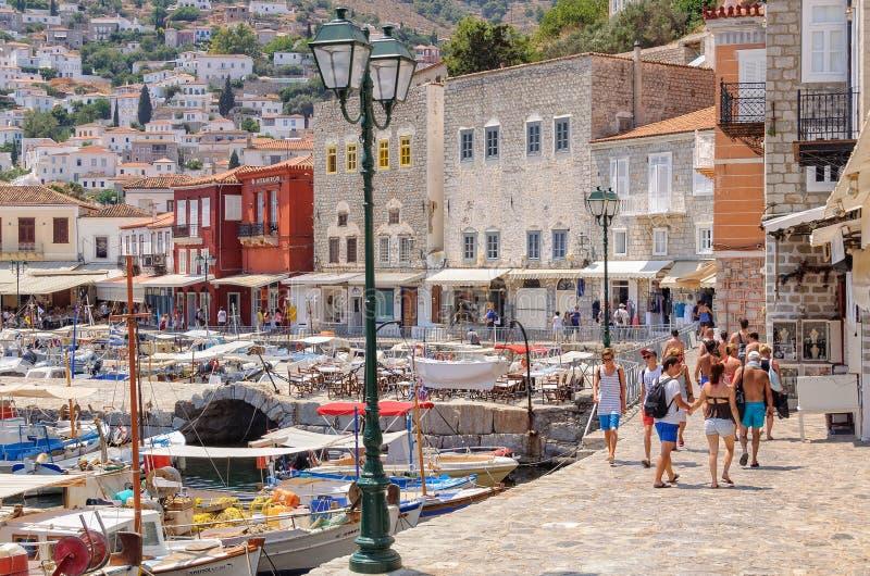 Port av hydraen - Saronic öar arkivfoto