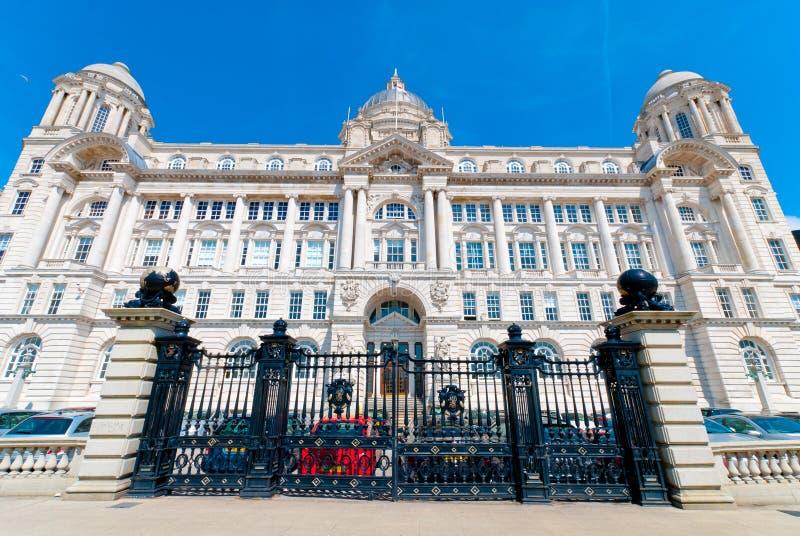 Port av Liverpool byggnad royaltyfri fotografi