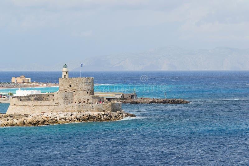 Port av Mandraki - Rhodes arkivfoto