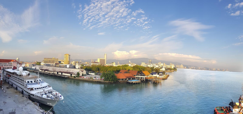 Port av Penang, Asien, Malaysia, Penang, Pulau Pinang, George Town, stadshorisont arkivbild