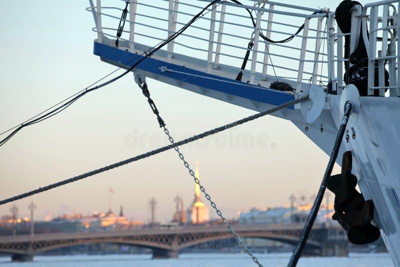 Port av St Petersburg i vintern royaltyfri foto