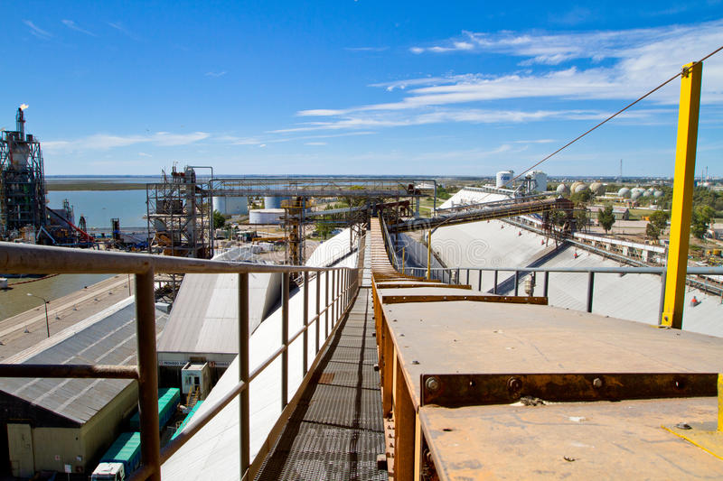 Port in Bahia Blanca, Argentina. Port of Ingeniero White - at the moment is a major trading port of Argentina, the second largest and deepest port in the royalty free stock image